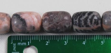 16mm Pink Zebra Jasper Barrel Beads