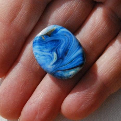 Glass Focal Bead Blue White Swirl OOAK Boro