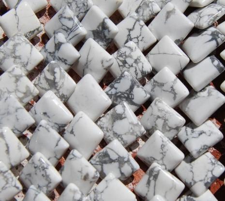 Diagonal drilled Howlite Puff Beads