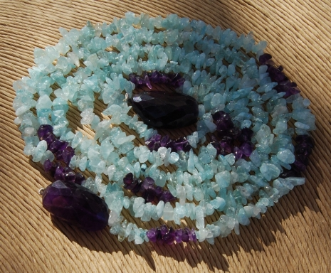 Purple Aqua Quartz Chip Long Strand
