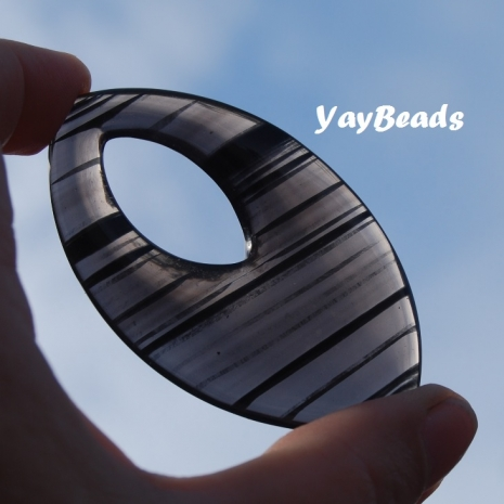 Banded Obsidian Donut Marquise Focal Bead 70x40x7mm