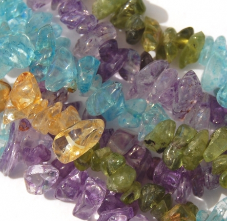 Aquamarine, Amethyst, Citrine, Green (Dyed) Quartz Chip Beads