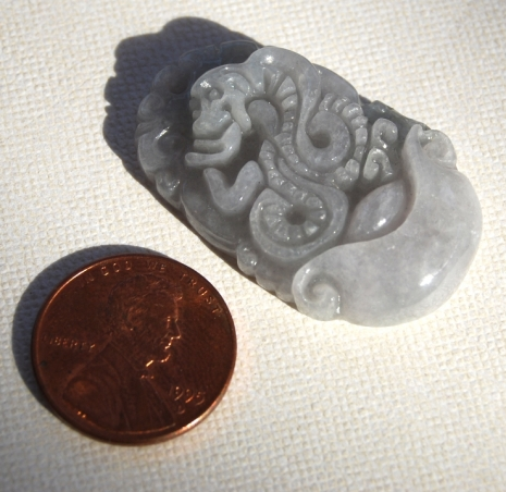 Carved Snake Serpentine Jade Focal Bead