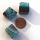 Quartz Black Agate Big Cube Beads Green (Dyed)