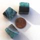 Quartz Black Agate Big Cube Beads Green (Dyed)