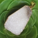 Natural White Crystal Druzy Geode Pendant Gold