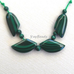 11 pc. Natural Malachite Beads Leaf Set Focal Beads Fan
