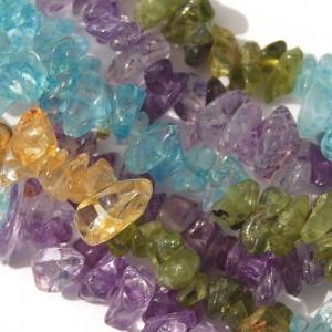 Aquamarine, Amethyst, Citrine, Green (Dyed) Quartz Chip Beads