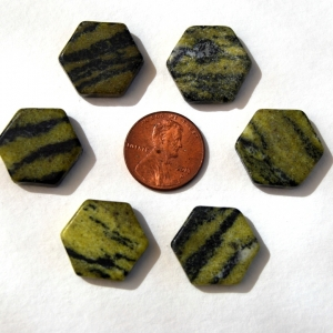 Natural Earthy Olive Jade Serpentine Hex Focal Beads