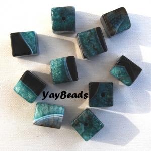 Quartz Black Agate Big Cube Beads Green (Dyed) Qty 1